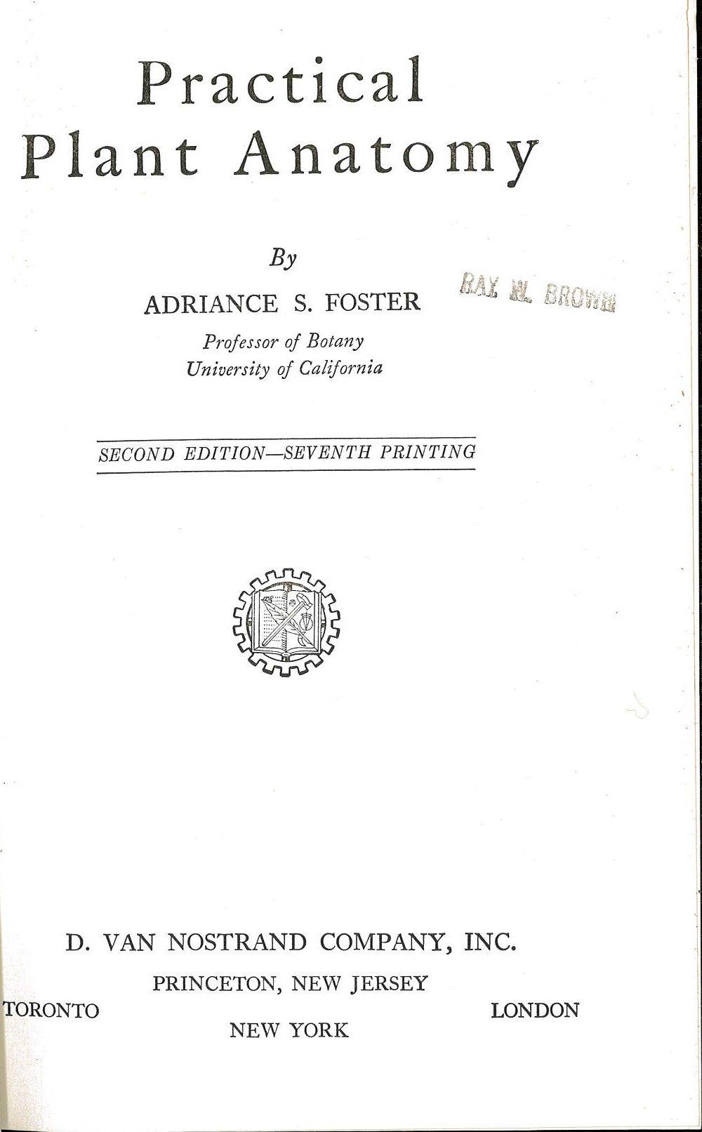 Practical Plant Anatomy: Adriance S. Foster: 9780442024284: Amazon ...