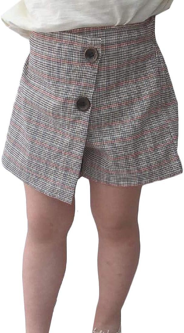 Hajotrawa Girl Button Elastic Waist Plaid Vintage Culottes Pocket Short Pants