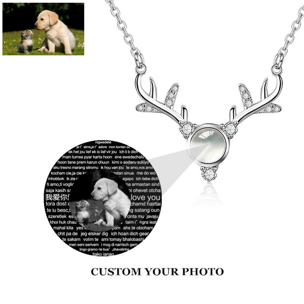 I Love You Symbol of Steadfast The Memory of Love Different Languages for I Love U ZHJ8 Customized Photo Necklace Projective Necklace
