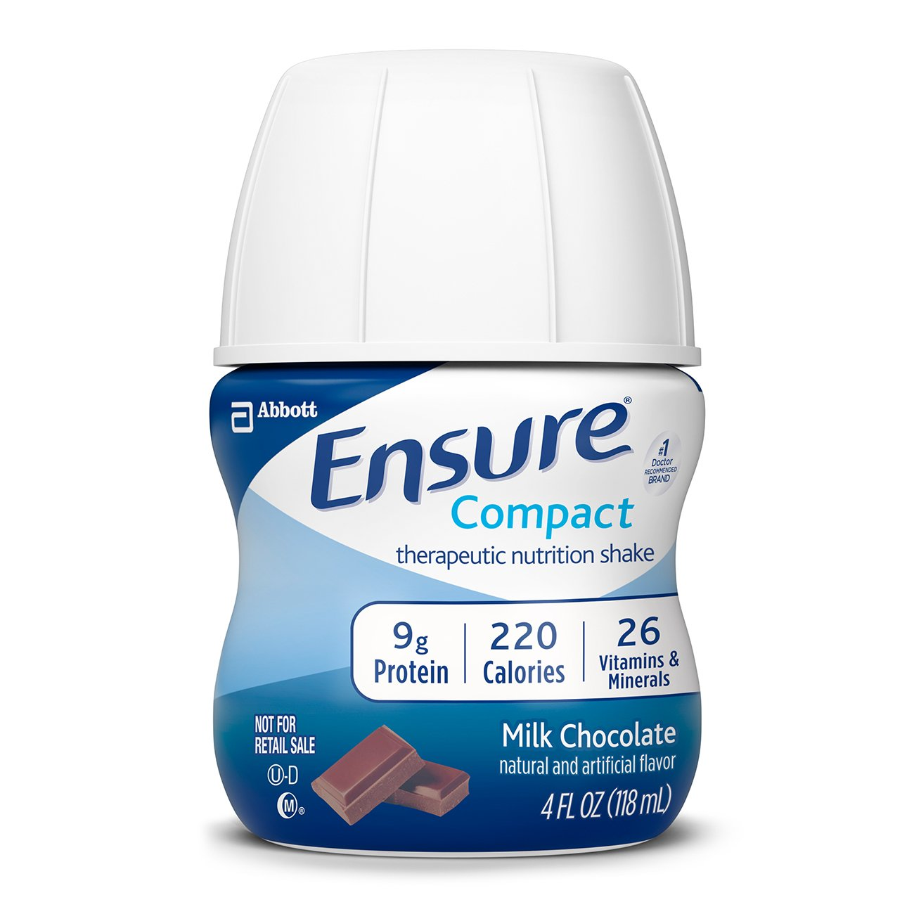 Ensure Compact Nutrition Shake, 9g of protein, Milk Chocolate, 4 fl oz, 24 Count