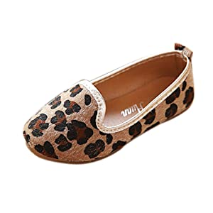 LINGGO Girls Fashion Leopard Print Ballet Flat Shoes (Toddler/Little Kid)