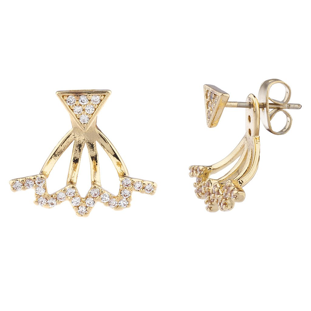 Lux Accessories Gold Tone and Pave Triangle Zig Zag Earring Jacket E241848-1-E984