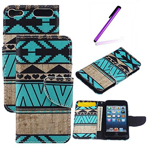 iPod Touch 5 Case,iPod Touch 6 Case,LEECO Fashion Synthetic PU Leather Wallet Type Magnet Design Flip Stand Case Cover for Apple iPod Touch 5 6th Generation + Send 1 Stylus Pen(Folk Style)