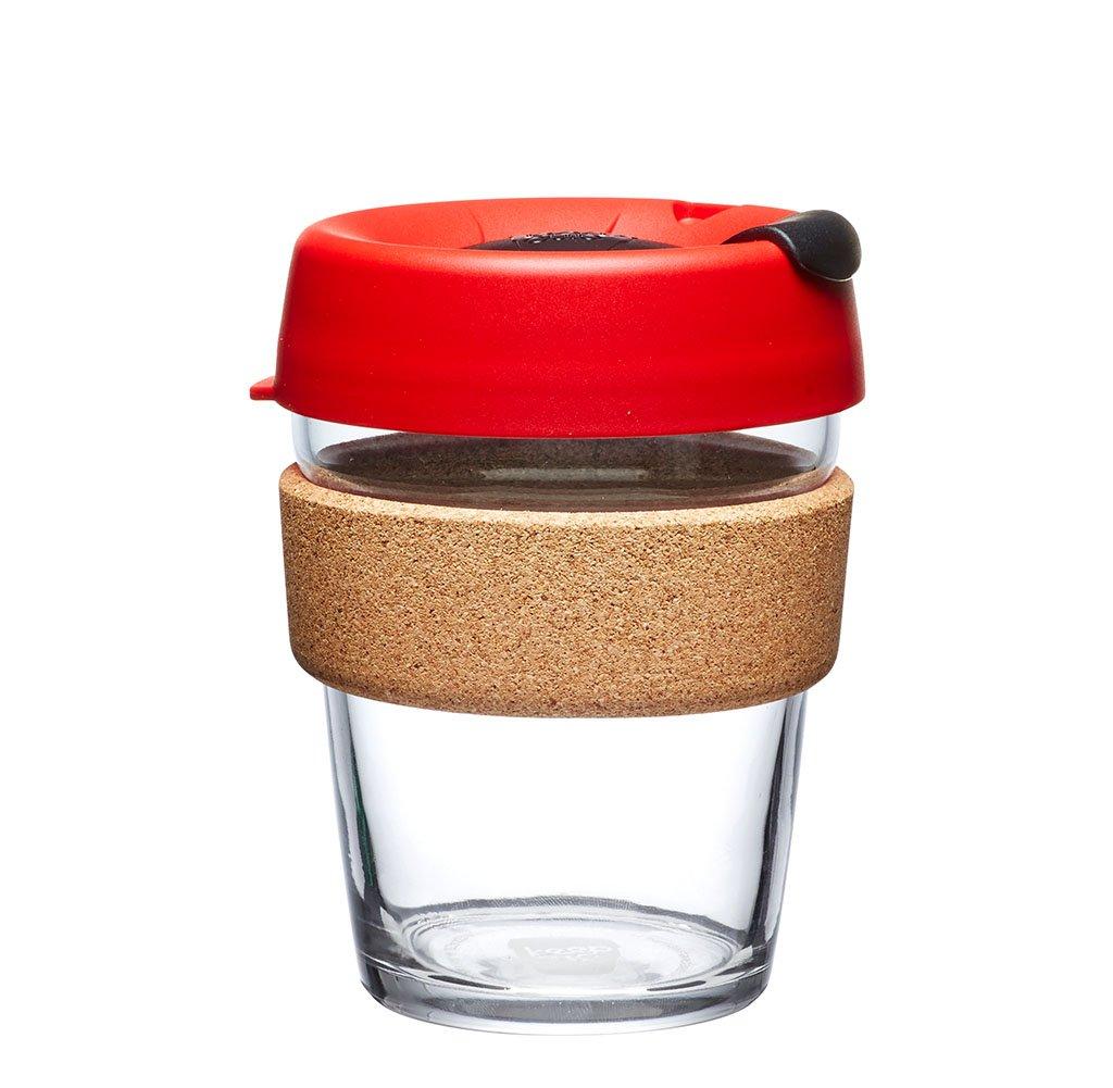 KeepCup 12oz Reusable Coffee Cup. Toughened Glass Cup & Natural Cork Band. 12-Ounce/Medium, Ladybug