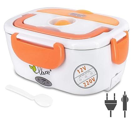 Calentador eléctrico del coche, fiambrera 12V / 220v 2 in1 Calentador térmico eléctrico casero de la comida de la fiambrera(naranja)