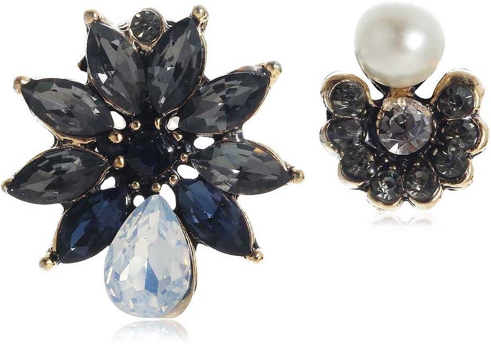 MATBC Cristal Azul Pendientes de Perlas de Diamantes de imitación Azules Pendientes de Piedras Preciosas de Oro Antiguas Femeninas
