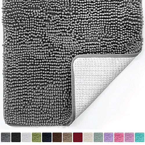 Gorilla Grip Original Luxury Chenille Bathroom Rug Mat (30 x 20), Extra Soft and Absorbent Shaggy Rugs, Machine Wash/Dry, Perfect Plush Carpet Mats for Tub, Shower, and Bath Room (Shag Bathroom Rugs)