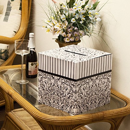 Black & White Wedding Card Money Gift Box Reception Wishing Well (Wishing Well Wedding Reception)