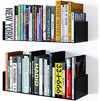 wallniture floating wall mount metal u shape shelf book cd dvd storage display bookcase black set