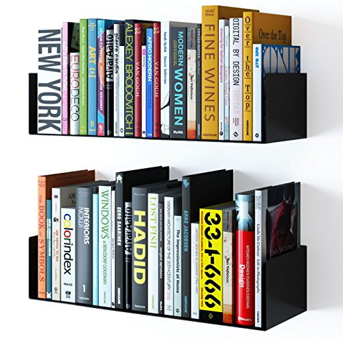 WALLNITURE Floating Wall Mount Metal U Shape Shelf Book CD DVD Storage Display Bookcase Black Set of 2 Dvd Storage Bookcase