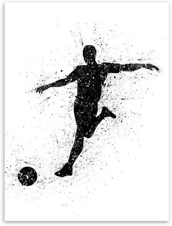 Motif Moderne MINRAN DECOR Impression sur Toile Aquarelle Moderne Sport Football No Frame Image sur Toile D/écoration 20x25cm 4 Tableaux pour la Mur