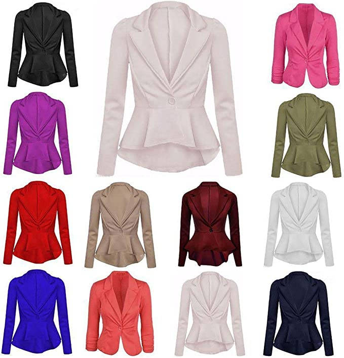 ZEE FASHION Womens Crop Frill Shift Slim Fit Fitted Peplum Blazer