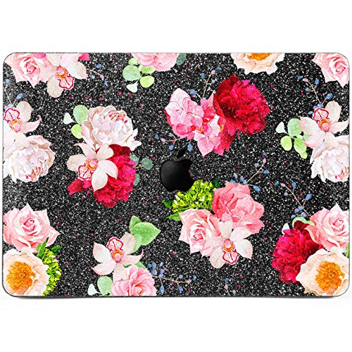 Lex Altern Glitter Case for Apple MacBook Air 13 inch Pro Mac Retina 15 12 11 2018 2017 2016 2015 Pink Spring Bouquet Rose Peony Orchid Flowers Plastic Protective Laptop Cover Bling Girly Crystal Gray