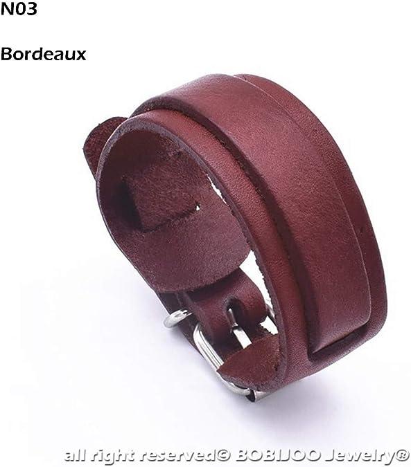 Bracelet cuir Mick bordeaux