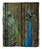 Chaoran 1 Fleece Blanket on Amazon Super Silky Soft All Season Super Plush Peacock Decor Collection Peacock Mural on the Wall Royal Mythological Animal Represents Patience Artwork Fabric et Teal
