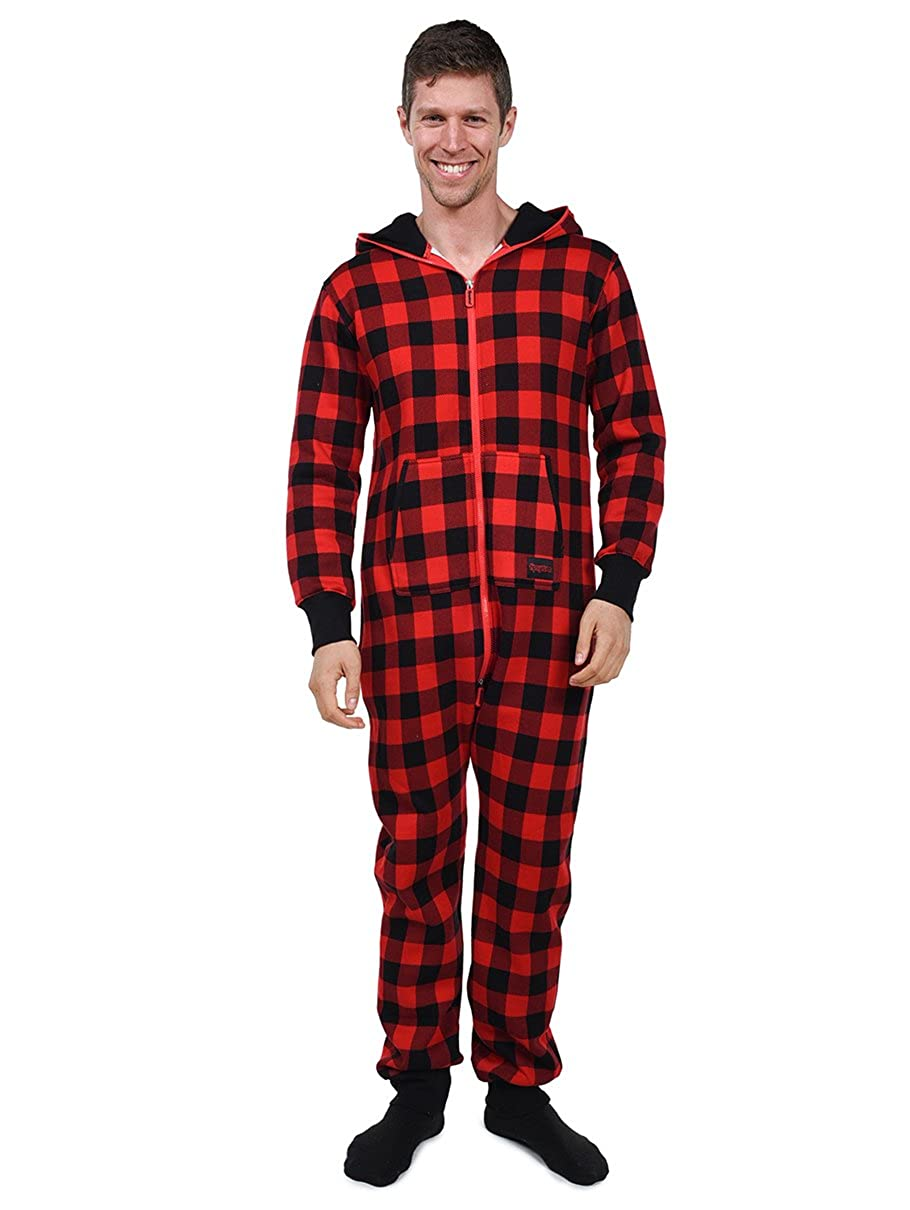 26a5d97d6ab Tipsy Elves Buffalo Plaid Jumpsuit - Black and Red Adult Onesie  Small   Amazon.ca  Clothing   Accessories