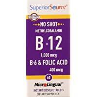 Superior Source No Shot Methylcobalamin B12/B6/Folic Acid, 60 Count