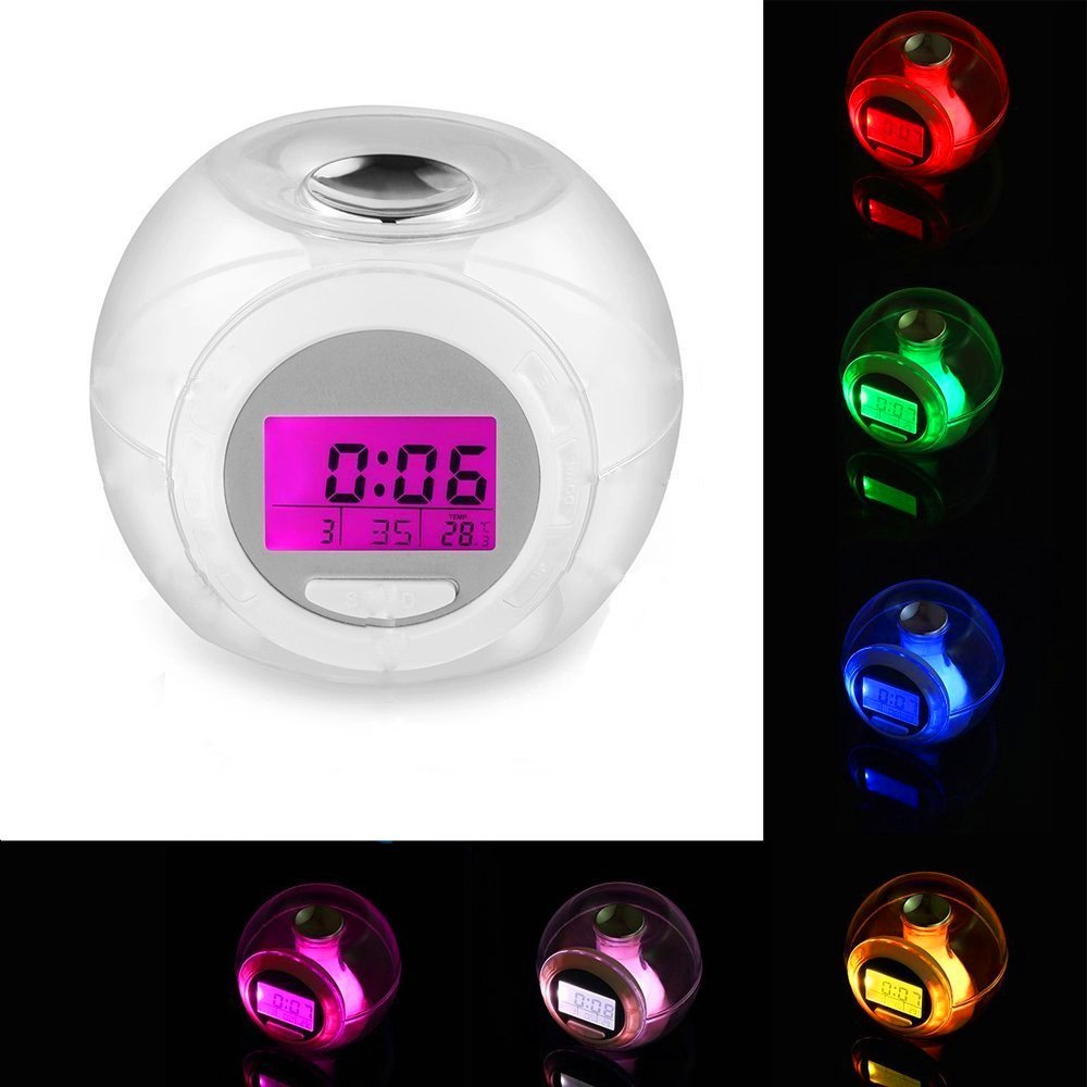 Cooljun Fashion Creative 7 Colors Changing Alarm Clock Wake Up Light Clock For Kids Child Toddler Adults