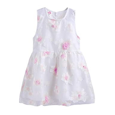 60e46cf11dd Amazon.com  Mud Kingdom Cute Girls Dresses Fairy 3D Flower and ...