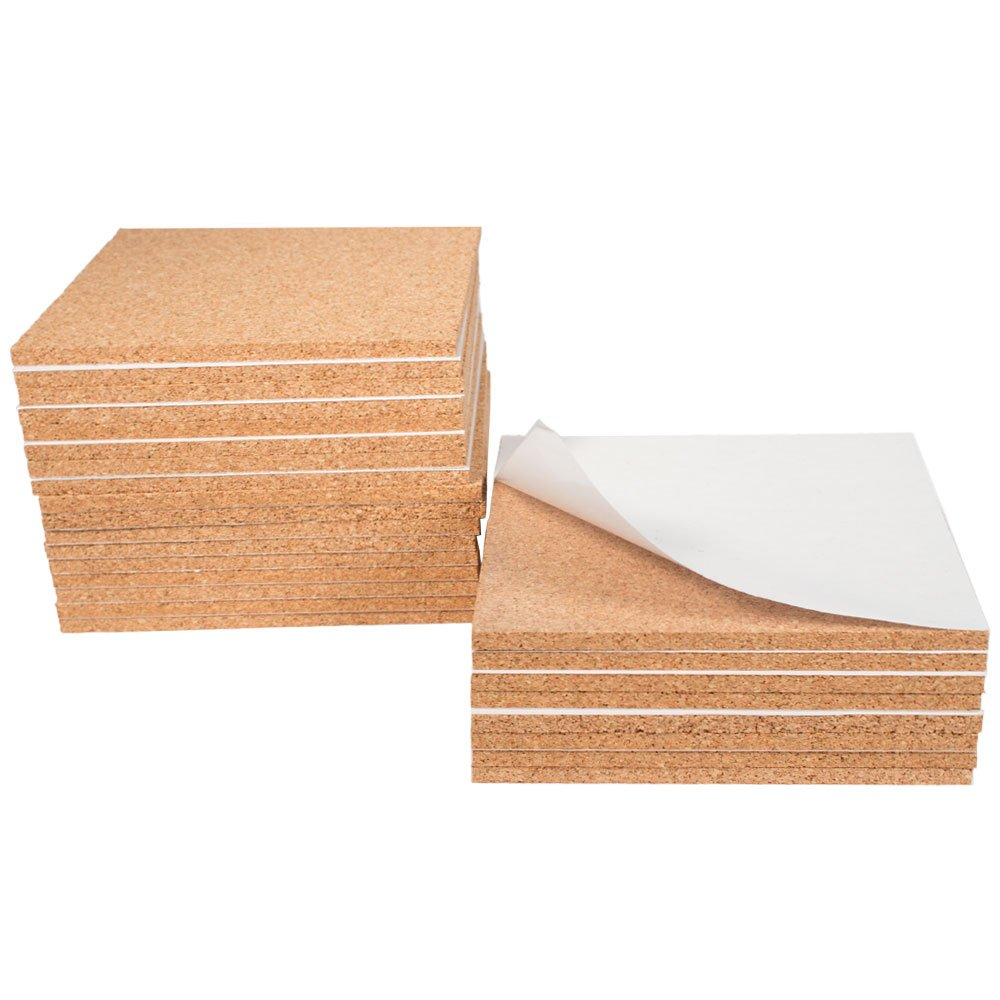 Foglio di sughero, adesivo, circa 15 x 15 x 0,6 cm - Kit con 25 pezzi Cleverbrand
