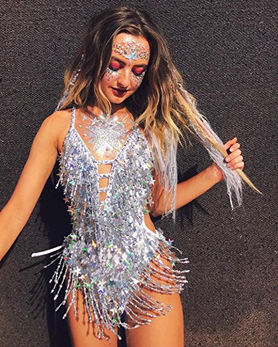 6 Sets Women Mermaid Face Gems Glitter,Rhinestone Rave Festival Face Jewels,Bindi Crystals Face Stickers, Eyes Face Body Temporary Tattoos for Music Festivals Vibe Bohemian Coachella by Diva Woo (Image #2)