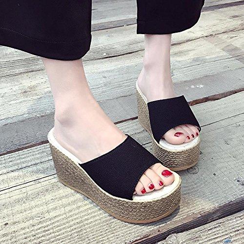 Pantoufles pour Talon décontractées haut Black LvYuan Chaussures sandales étanche plage d'été chaussures de Basse confortables femmes épaisse compensé talon plateforme 4d4Ew