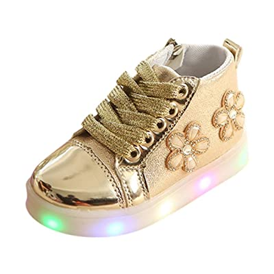 FshingingChildren BabyGirls Floral Crystal Led Light Luminous Running Sport Boots Shoes(Gold,Age: 2-2.5Years): Clothing