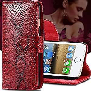 Sexy Snake Skin Leather Flip Case For Apple iphone 6 Wallet Stand With Card Holder Sleeve Cover For iphone 6 4.7inch/5.5inch/ 5S --- Color:pink For iphone 6
