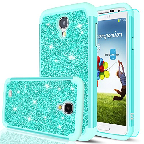 S4 Case,Galaxy S4 Case with HD Screen Protector,LeYi Glitter Bling Girls Women Design [PC Silicone Leather] Dual Layer Hybrid Heavy Duty Protective Phone Case Cover for Samsung Galaxy S4 TP Mint