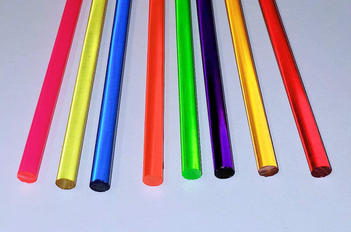 8 Different 36'' Inch Long x 1/4'' inch Diameter Clear Color Acrylic Plexiglass Plastic Lucite Rod - Pink, Yellow, Blue, Orange, Green, Purple, Amber, Red by BEST ACRYLICS