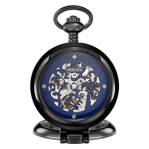 Quskto Relojes de Bolsillo y para Hombre Clásico Reloj de Bolsillo ...