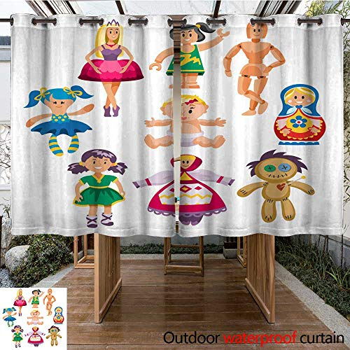 RenteriaDecor Outdoor Balcony Privacy Curtain Different Dolls Toy Character Game Dress and Farm Scarecrow rag Doll Vector Illustration W55 x L72