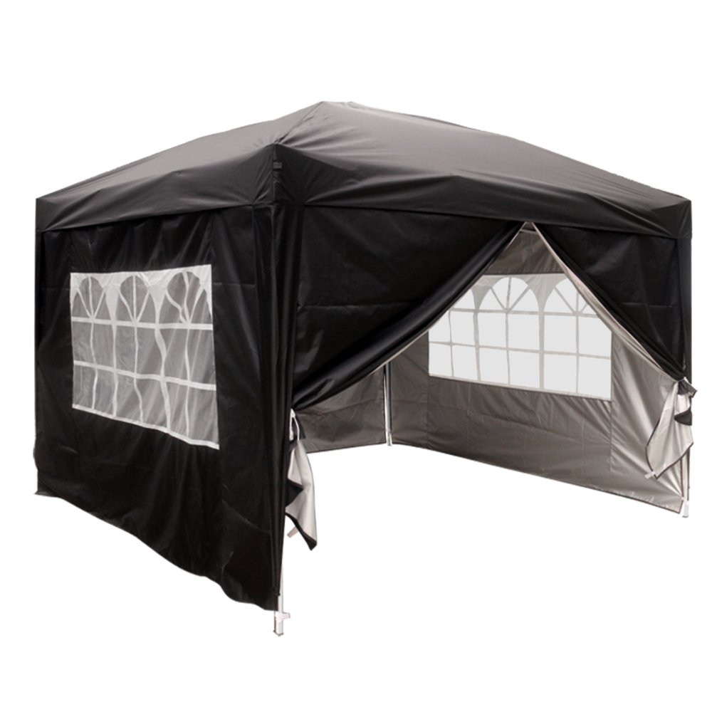 Greenbay Black Heavy Duty Pop-up Gazebo Marquee Canopy with 4 Side Panels and Carrybag - 2m x 2m Manufactured for Greenbay