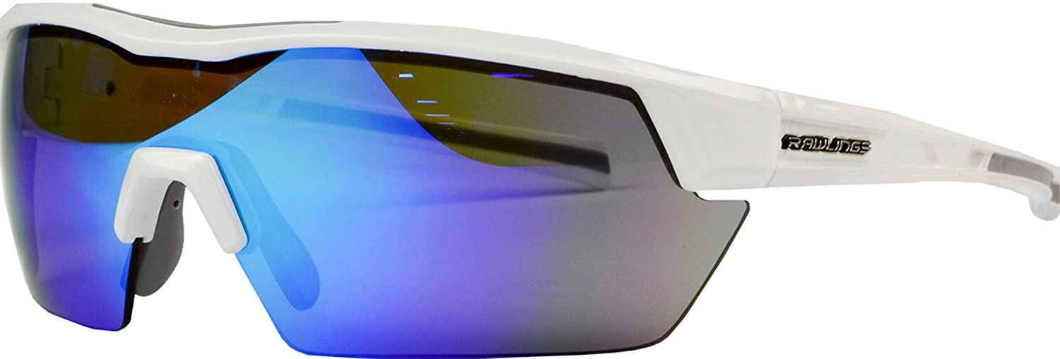 a72547b2f0 Amazon.com  Rawlings 34 Baseball Sunglasses (White Blue Mirror)  Sports    Outdoors
