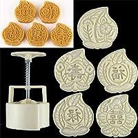 6pcs/let Mid Autumn Festival Mooncake Mold, Hand Pressure Maker Mould+5 Peach