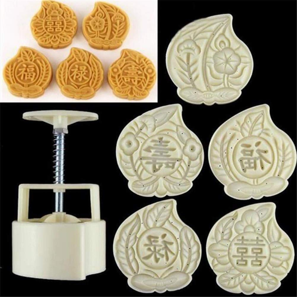 6pcs/let Mid Autumn Festival Mooncake Mold, Hand Pressure Maker Mould+5 Peach Mode Stamps Plunger Kit, Plastic Cookies Cutter Moon Cake Mould, Kitchen DIY Baking Decorating Tools Bakeware Gadget VALINK