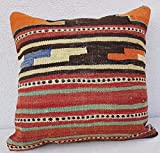 20'' X 20'' Vintage Hand Embroidered Large Turkish Wool Kilim Rug Pillow Cover