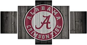 Alabama Crimson Tide Football Wall Decor Art Paintings 5 Piece Canvas Picture Artwork Living Room Prints Poster Decoration Wooden Framed Ready to Hang(60''Wx32''H)