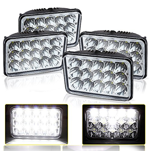 DOT Rectagular 4X6 Projector Lens Sealed Beam Headlight Assemblies Replace Hid Halogen Bulb Headlamp KW Kenworth T-600 W900 T800 Truck Peterbilt 379 Chevy Camaro C10 K10 S10 Blazer RV Dodge Dakota (Sealed Replacement Headlight Beam)