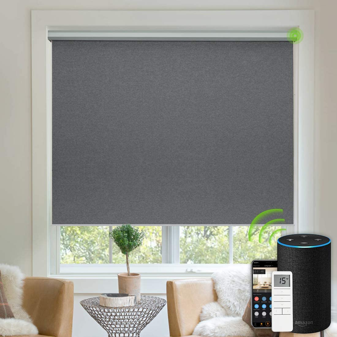 Yoolax Free-Stop Blackout Roller Shade Fabric Material Motorized Blind Cordless Remote Control Room Darkening Privacy Window Blind with Valance Dark Grey