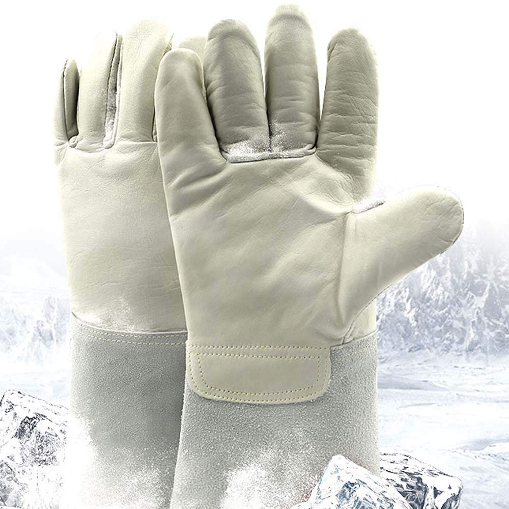 YSNBM Gloves Cowhide Antifreeze Gloves Refueling Station Low Temperature Resistant Gloves Anti-Liquid Nitrogen/Dry Ice Cold Storage Special Gloves/14.2inches Gas Station,Dry Ice,Cold Storage,Industr