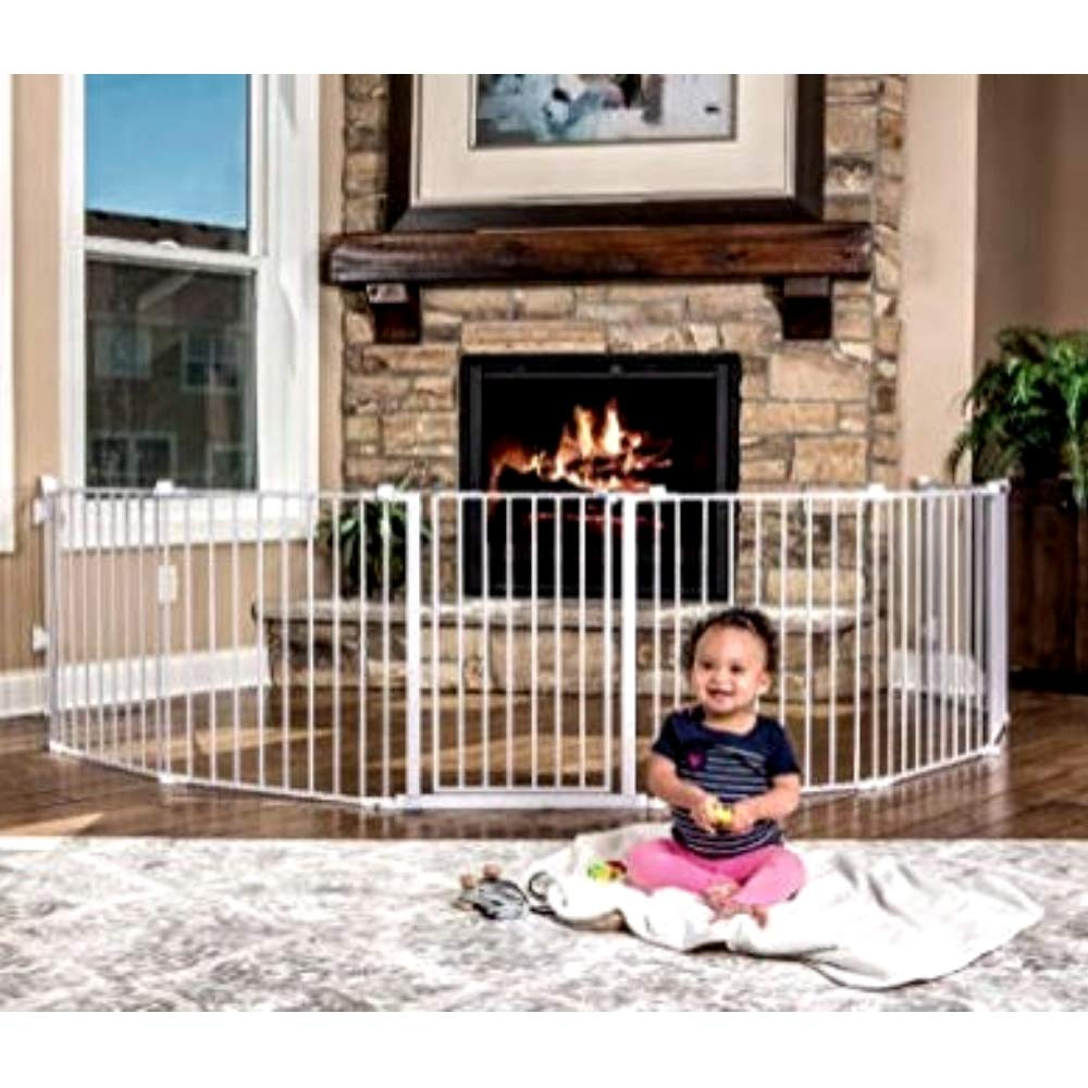 XL Metal Baby Gate 16 Ft Durable Steel Indoor Outdoor Security Rooms Pets Fireplace Stairs Adjustable Parts Extendable Fence Wall Mount & eBook by JEFSHOP by GHY (Image #2)