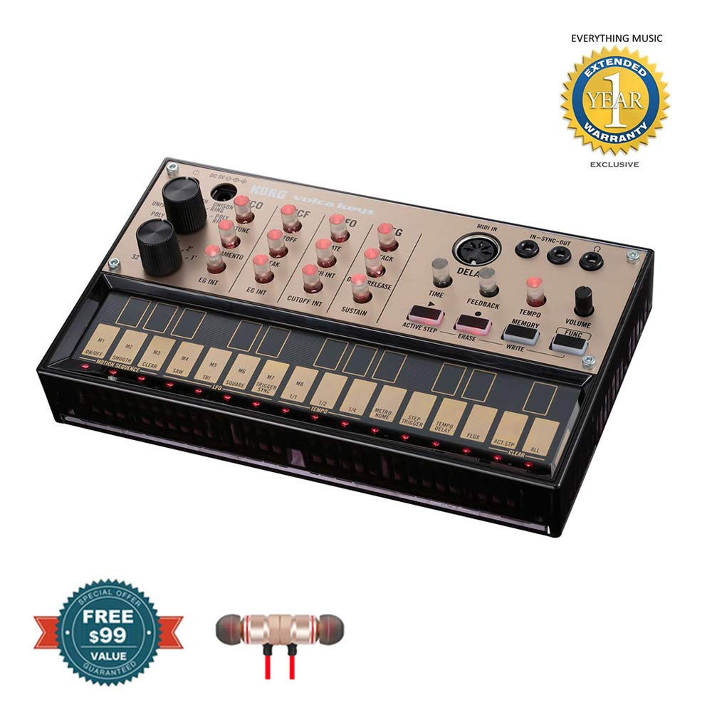 Korg Volca Keys Analog Loop Synthesizer includes Free Wireless Earbuds - Stereo Bluetooth In-ear and 1 Year Everything Music Extended Warranty