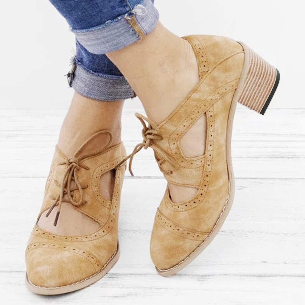 Women Sandals Suqare Heels Lace-Up Short Boot Solid Color Hollow Single Shoes
