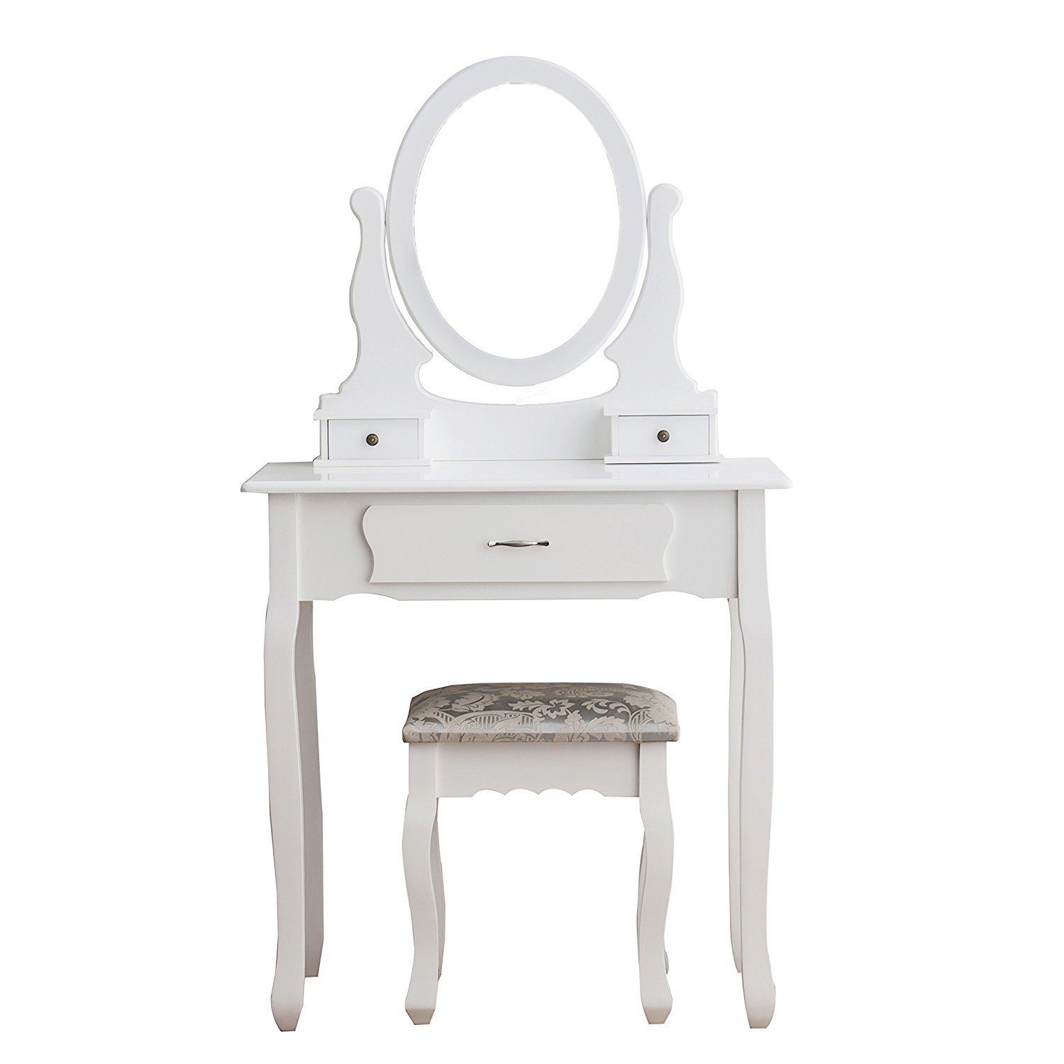 Vanity Set Bedroom Make-up Dressing Table Oval Mirror&Cushioned Stool,White Finish (02-1 Mirror 3 Drawer 1 Stool)