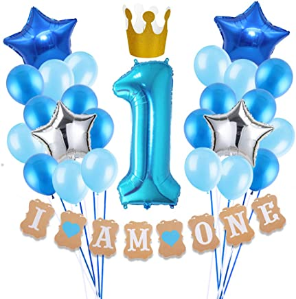 SULOLI 1st Birthday Decoration for Boys - 30 Pieces for Birthday Boy Decoration/Blue Theme Party - I AM One Banner with Crown, 40 Inch Number 1 Foil Blue Balloon, 18 Inch Star Foil Balloons