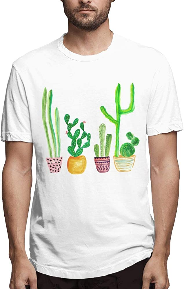 Camisetas Blancas de algodón con diseño de Cactus para Hombres,S: Amazon.es: Ropa y accesorios