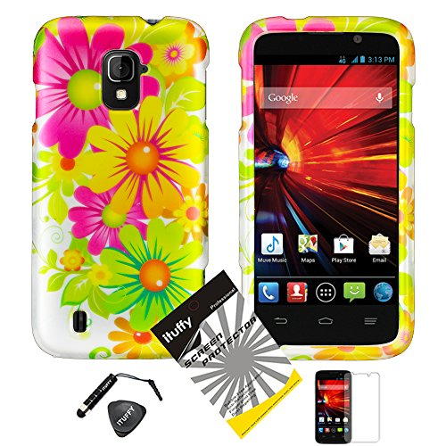 4 items Combo: ITUFFY (TM) LCD Screen Protector Film + Mini Stylus Pen + Case Opener + Yellow Pink Green Colorful Daisy Sun Flower Design Rubberized Snap on Hard Shell Cover Faceplate Skin Phone Case for ZTE Majesty / Z796c - StraightTalk (Yellow Flower)