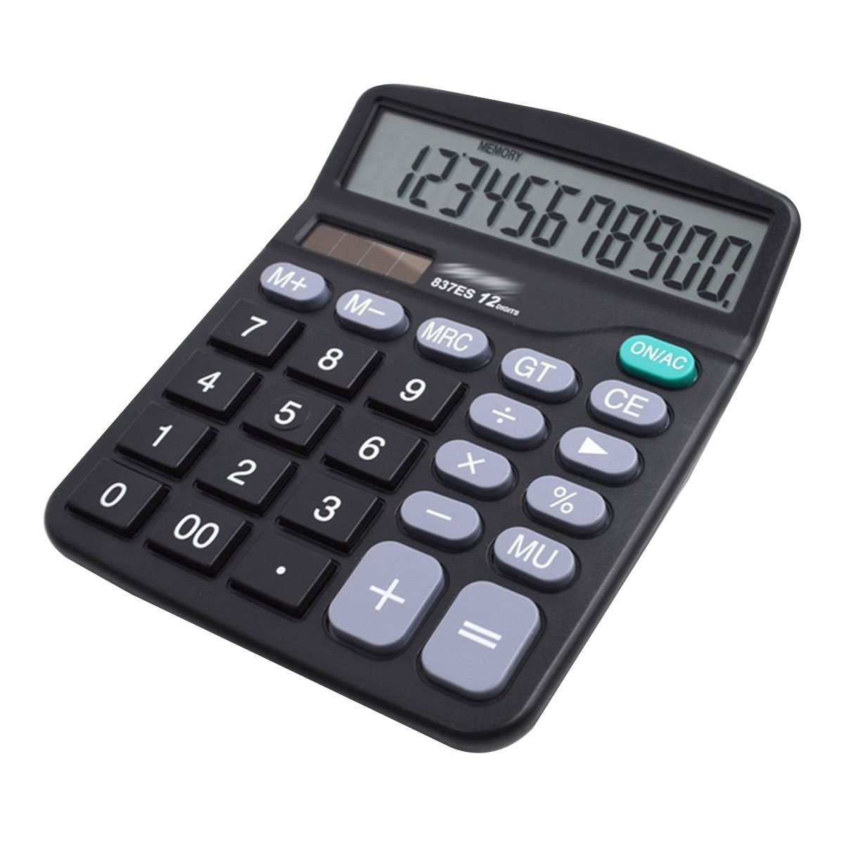 CLARA 12-Digit Large LCD Display Calculator Solar Battery Dual Power Office Calculator Large Buttons Calculator Black