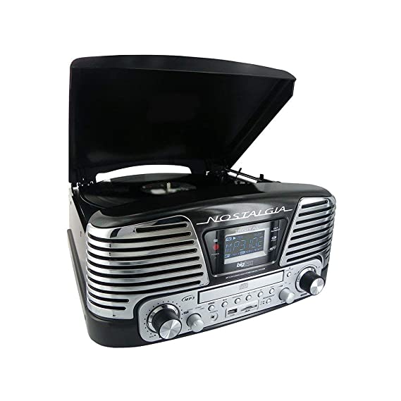 BigBen TD79NM - Tocadiscos (pantalla LCD, 230 V, 50 Hz, USB, 3.5 mm, MP3, AM/FM, tarjeta SD/MMC), color negro (Reacondicionado)